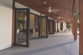 bi fold system is available in frame heights up to 10 feet and panel widths up to three feet six inches the unit uses two hinges rather than three for a