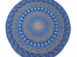 Table Cloth For Round Table Blue Mandala Cotton Dining Table Linens Round Tablecloth Overlay