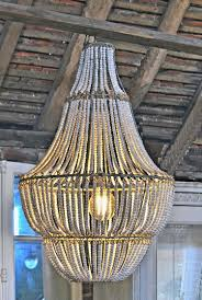 white wooden bead chandelier large beaded