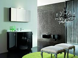 contemporary black gloss vanity with wall mounted mirrored cabinet also dark grey bathroom painting ideas and green rugs on black granite tiled flooring