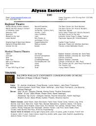 Easy Musical Theatre Resume Template Acting Free And Professional