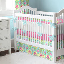 girl baby nursery room decorating design ideas using colorful light green and pink flower baby bed valance including light pink circus baby bedding and