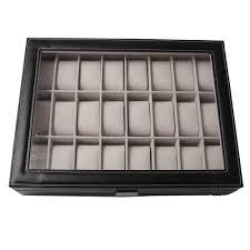 24 grids mens watch storage box pu leather top glass display 5 copy496