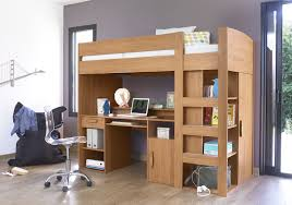 Sterling Maple Wooden Full Size Adult Loft Bed Then Work Desk Together With  Transparent Swivel Chair