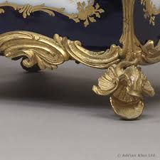 a rare pair of louis xv style gilt bronze mounted sèvres style blue ground
