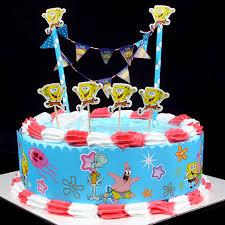 Populer Diy Kue Bendera Kartun Spongebob Cake Wrapper Dekorasi