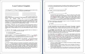 Lease Contract Template Contract Templates