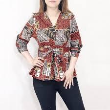 Lengan panjang batik, baju wanita lengan terompet, batik modern cewek panjang. Jual A68 Baju Blouse Batik Wanita Lengan Panjang Model Ikat Samping Jakarta Barat Super Jos1 Tokopedia