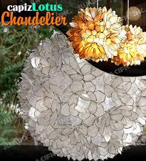 flip book capiz lotus chandelier