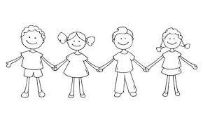 かわいい幸せな子供が一緒に立っています落書き漫画男の子と手を繋いで