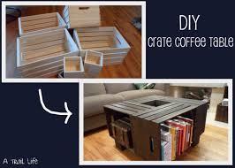 ... Simple Teak Square Rustic Wood Crate Coffee Table DIY Design To Setup  Living ...