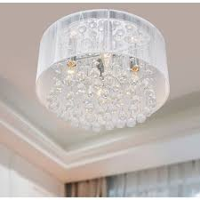 drum shade crystal chandelier flush mount light fixture chrome white modern room