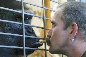 ... Tierpfleger Thomas Hammes ganz liebevoll mit einer Erdnuss gefüttert.