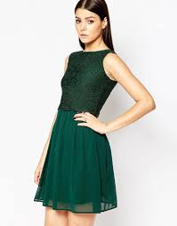 A Forest Green Dress With Lace Overlay Chiffon Lined Skirt With