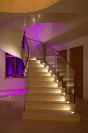 lighting stairs. Concrete Staircase Beautifully Lit Consider Lighting Stairs M