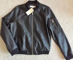 michael kors women s faux leather moto jacket er black full zip m nwt 195