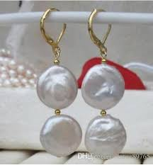 14mm white coin pearl baroque earring