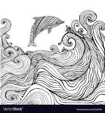 Dolphin And Ocean Waves Coloring Page For Children