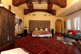 Bedroom:Large Moroccan Bedroom With Dark Red Morrocan Fabric Rug Also White  Comfort Bed Also