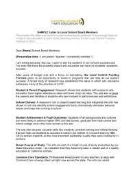 Letter To Board Of Directors Sample Sample Letter To School Board Member
