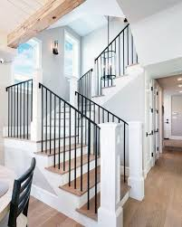 Image Wood Black Metal With White Wood Beam Posts Home Design Ideas Stair Railing Next Luxury Top 70 Best Stair Railing Ideas Indoor Staircase Designs