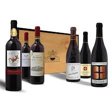 grands de vins wine in wooden gift box 6 x 75cl