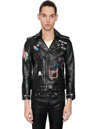 garcons infideles hand painted leather biker jacket in black