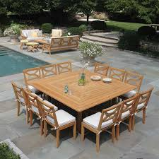teak outdoor dining table for 10 to 12