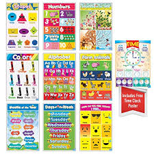 Educational Preschool Posters For Toddlers And Kids Perfect For Children Preschool Kindergarten Classrooms Teach Alphabet Letters Numbers Weather