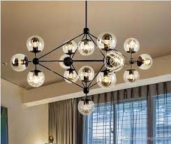 modern chandeliers led glass ball pendant lamps e27 industrial glass chandelier for restaurant coffee bar living room lights