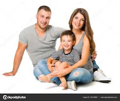 family on white background three people happy pas child stock photo