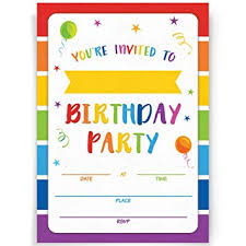 Birthday Invitation Party Birthday Party Invitations 20 Invitations And Envelopes Rainbow Party Invites Ideas And Supplies