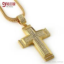 whole hip hop cross pendant men chunky 24k gold plated jewelry necklace with large cross pendant hot jewelry necklaces pendants accessories