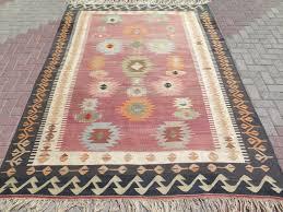 turkish kilim wool area rug black border pastel colors fleur lis rugs modern for the hottest trend home info deer carved dining room mission style cabin