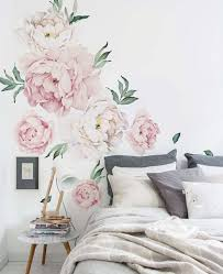 peony flowers wall sticker vintage pink