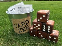 Wooden Yard Games YardZee Giant Yard Dice Yahtzee Game Farkle Dice Game Six 1