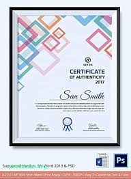 Certificate Of Authenticity Template Awesome Art Certificate Template Free Awesome 48 Elegant Certificate