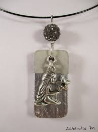 vierge zodiac pendant necklace on silver rectangle and gray shamballa bead black necklace