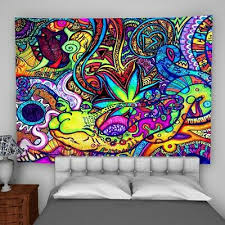 psychedelic colorful tapestry wall