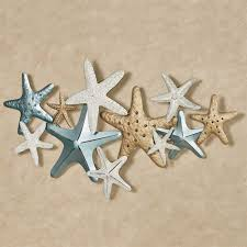 starfish collage wall art gold ivory on gold starfish wall art with starfish collage coastal metal wall art