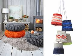 Large knitted Poufs look fabulous in this rustic retreat. // 2. How  charming is the 5 Wire Small Shade by HK Living?