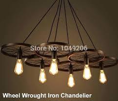 wrought iron chandelier loft black antique lighting retro vintage wheel with crystals