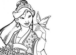 Small Picture Mulan in Her Chinese Imperial Dress Coloring Page Download