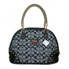 Coach Madison Stud In Monogram Medium Grey Satchels BRN Regular Price    60.99
