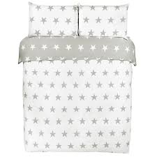 grey white stars double duvet set 4