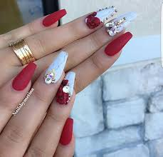 Red And White Nail Designs Pin By Lenisha Greaves On Nails In 2019 Red Acrylic Nails