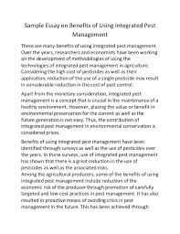 sample essay on benefits of using integrated pest management sample essay on benefits of using integrated pest management there are many benefits of using integrated