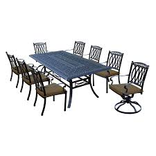 aluminum dining room chairs. Milan 9 Piece Cast Aluminum Dining Set With Rectangular Table, 6 Stackable Chairs, 2 Swivel Rockers And Sunbrella Cushions - Free Shipping Today Overstock Room Chairs B