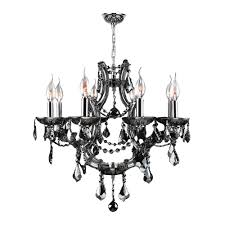 worldwide lighting lyre collection 8 light chrome with smoke crystal chandelier
