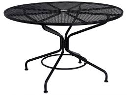 woodard ron cafe series wrought iron round patio dining table wr n 92
